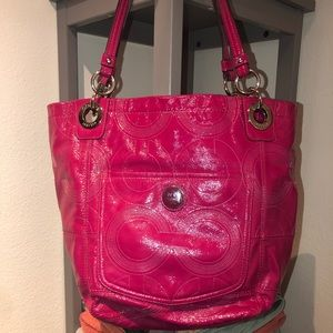 Coach Raspberry patent Alex tote